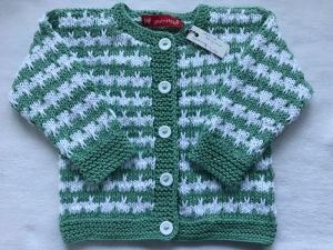 Gr.74/80 Babyjacke in mint grün und weiß gestreift aus weicher, reiner Baumwolle handgestrickt - Handarbeit kaufen