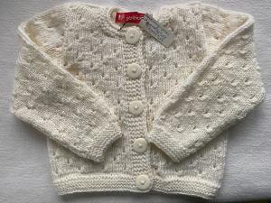 Gr.80/86 Sommerstrickjacke in weiß im Lochmuster aus strapazierfähiger Wolle handgestrickt - Handarbeit kaufen