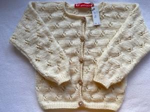 Gr.86/92 Sommerstrickjacke mit Lochmuster in naturweiß aus feiner, dünner Schurwolle handgestrickt - Handarbeit kaufen