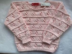 Gr.92/98 Sommerpullover für kleine Mädchen mit Lochmuster in rosa aus reiner Baumwolle handgestrickt - Handarbeit kaufen