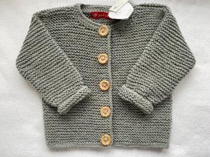 Gr.74/80 Elegante Babyjacke in khakigrün aus hochwertiger, reiner Baumwolle kraus rechts handgestrickt - Handarbeit kaufen