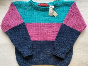 Gr.92/98 Sommerpullover für Kinder mit drei Blockstreifen in den Farben dunkelblau, pink und türkis aus reiner, hautfreundlicher Baumwolle glatt rechts handgestrickt - Handarbeit kaufen