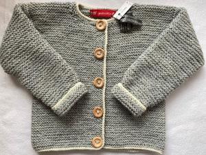 Gr.98/104 Kinderstrickjacke in graumelange mit naturfarbenem Rand aus strapazierfähiger Wolle kraus rechts handgestrickt - Handarbeit kaufen