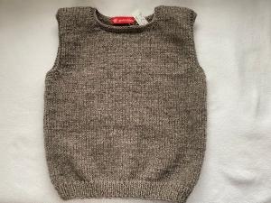 Gr.128/134 Kinderpullunder in taupemelange aus strapazierfähiger Wolle glatt rechts handgestrickt - Handarbeit kaufen