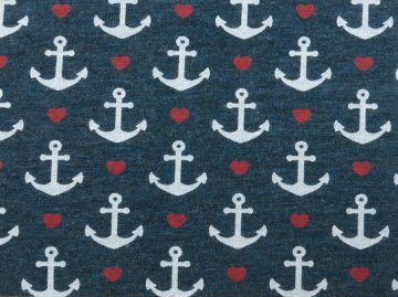 Jerseystoff Anker Lovely Anchors Farbe   jeansblau   Designed for you by Poppy Europe