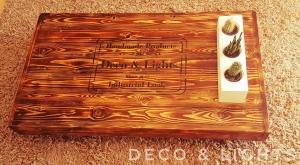 Palettenmöbel Couchtisch mit Antiker Beschriftung
