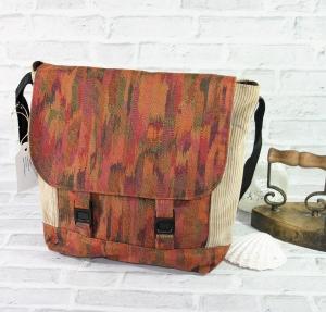 Umhängetasche für den Mann aus Cordstoff - Handarbeit  Messenger Braun Handmade  - Handarbeit kaufen
