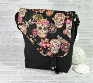 Skull Tasche Messenger Frau Umhängetasche Handmade Produkt