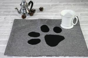 Tischset in schwarz weiß mit Katzen Motiv Tischdecke Platzdeckchen  - Handarbeit kaufen