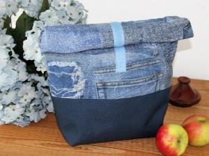 Lunchbag Kosmetiktasche Brottasche Frühstücksbeutel Wachstuchtasche Jeanstasche