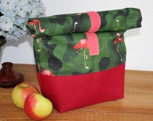 Lunchbag  Brotbeutel Jeanstasche Flamingo Camouflage Tasche Kosmetiktasche Geschenk Ostern  Tischdekoration