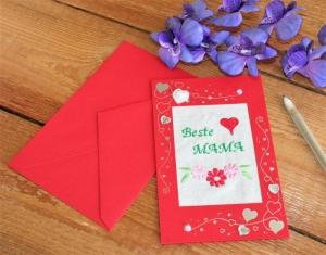 Grußkarte  Muttertag  Stickerei auf Leinenstoff Muttertagskarte handgemacht - Handarbeit kaufen