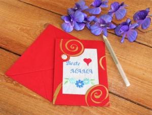 Grußkarte  Muttertag  Stickerei auf Leinenstoff Muttertagskarte handgemacht rot gold - Handarbeit kaufen