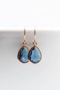 Ohrringe rosevergoldet Blau Tropfen