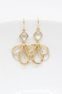 Ohrringe vergoldet Fächer Kristall