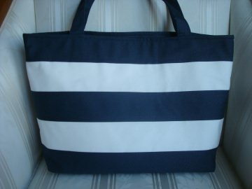 blau-weiss gestreifter Shopper - Einkaufstasche - Badetasche genäht von ☆ patchwerk ☆