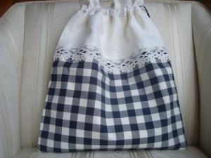 Wäschesäckchen - Wäschebeutel in blau-weiß kariert mit Spitzenband ☆ von patchwerk ☆