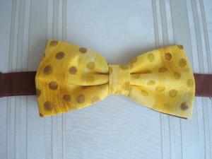 Herrenfliege aus Baumwollstoff in gelb/braun- für Ihre besonderen Anlässe - genäht -  ☆ von patchwerk ☆