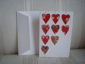 Grußkarte - Doppelkarte mit aufgenähten roten Herzen aus Japanpapier   - ☆ von Patchwerk ☆