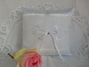Hochzeit - weisses Ringkissen genäht ☆ von Patchwerk ☆ - Handarbeit kaufen