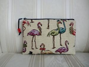 kleines Kosmetiktäschchen/ Schminktäschchen mit Flamingos genäht von ☆ Patchwerk ☆