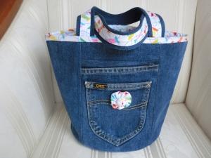 Jeans  Projekttasche  - Handarbeitstasche - Strickkorb - Wollkorb - upcycling - genäht von Patchwerk