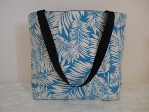 Strandtasche - Badetasche - Shopper - Shopping Bag - Einkaufstasche - türkis-weiß - genäht von Patchwerk - Handarbeit kaufen