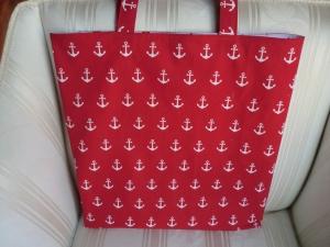 stabile Einkaufstasche - Einkaufsbeutel - Tragetasche - Markttasche - gefüttert - maritim - rot - genäht von Patchwerk