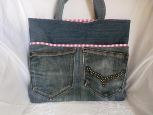 Jeanstasche - Shopper - Einkaufstasche - Shopping Bag - Jeans upcycling - von Patchwerk