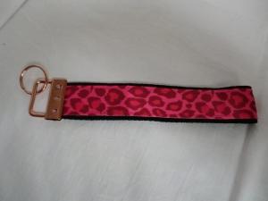 Schlüsselband - pink- Leo - rosé Metallteil - von Patchwerk - Handarbeit kaufen