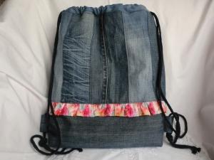 JeansRucksack - Turnbeutel - Sportbeutel - Festivalbag - zero waste - Jeans upcycling - genäht von Patchwerk - Handarbeit kaufen