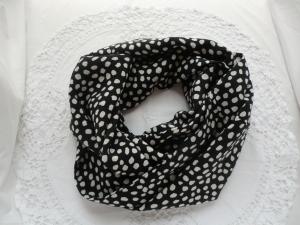 Schlauchschal - Loop - schwarz mit weißen Tupfen - genäht von Patchwerk - Handarbeit kaufen