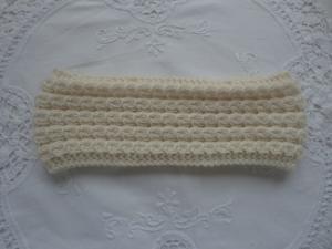 Stirnband aus Wolle gestrickt - wollweiß - von Patchwerk - Handarbeit kaufen