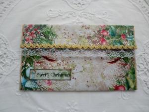 Kuvert mit Karte - für Geld / Gutscheingeschenke - Weihnachtsmotiv - von patchwerk    - Handarbeit kaufen