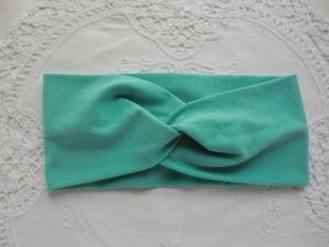 Stirnband mit Knoten aus türkisem Jersey - genäht von patchwerk