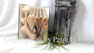 Gefaltetes Buch mit dem Schriftzug ♥ Love ♥
