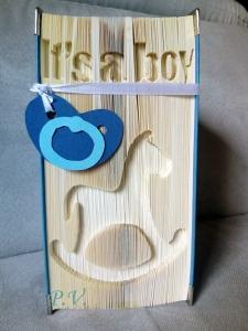 Gefaltetes Buch ♡ It's a boy ♡ mit Schaukelpferd zur Geburt