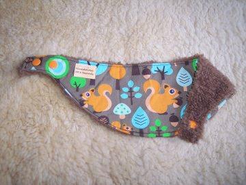 Baby Kinder Halstuch Eichhörnchen, zum Wenden, größenverstellbar, Tiere, Dreieckstuch warm und kuschlig