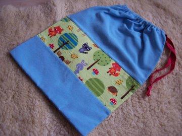einfacher Turnbeutel für Kinder Kindergartenkinder Stoffbeutel Waldtiere