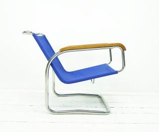 Bauhaus Freischwinger von Jindrich Halabala H-91 Blau - Handarbeit kaufen