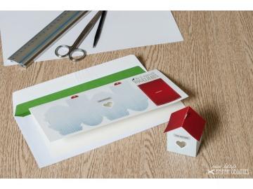 Grußkarte »Vogelhaus« mit heraustrennbarem Bastelbogen — 01.schmutzigweiß - Handarbeit kaufen