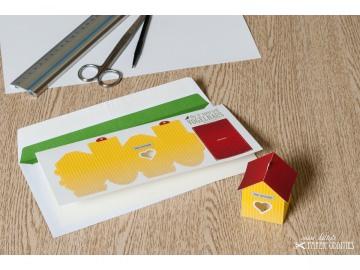 Grußkarte »Vogelhaus« mit heraustrennbarem Bastelbogen — 04.zitronengelb - Handarbeit kaufen