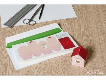 Grußkarte »Vogelhaus« mit heraustrennbarem Bastelbogen — 06.rosé - Handarbeit kaufen