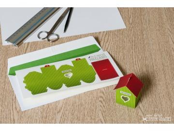Grußkarte »Vogelhaus« mit heraustrennbarem Bastelbogen — 08.apfelgrün - Handarbeit kaufen