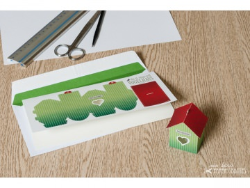 Grußkarte »Vogelhaus« mit heraustrennbarem Bastelbogen — 09.blassgrün - Handarbeit kaufen