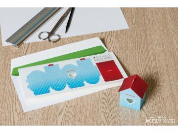 Grußkarte »Vogelhaus« mit heraustrennbarem Bastelbogen — 10.himmelblau - Handarbeit kaufen