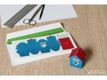 Grußkarte »Vogelhaus« mit heraustrennbarem Bastelbogen — 12.dunkelblau - Handarbeit kaufen