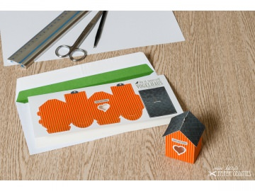 Grußkarte »Vogelhaus« mit heraustrennbarem Bastelbogen — 13.orange - Handarbeit kaufen