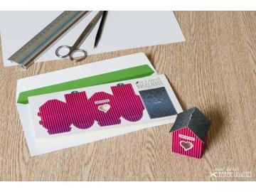 Grußkarte »Vogelhaus« mit heraustrennbarem Bastelbogen — 15.pink
