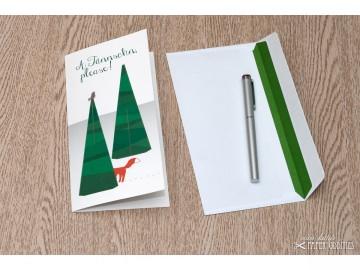Bastel-Weihnachtskarte »A Tännschn, please!« mit heraustrennbarem Tannenbaum - Handarbeit kaufen